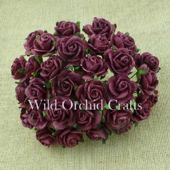 10 Stk. Rosen open roses burgundy 15 mm