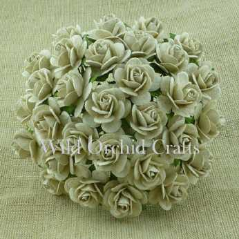 10 Stk. Rosen open roses dove grey 15 mm