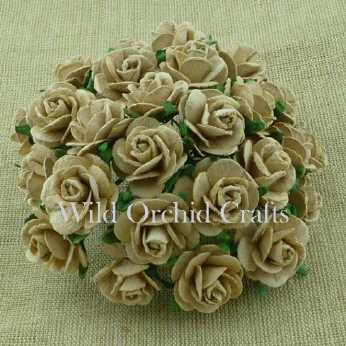 10 Stk. Rosen open roses light mocha 10 mm