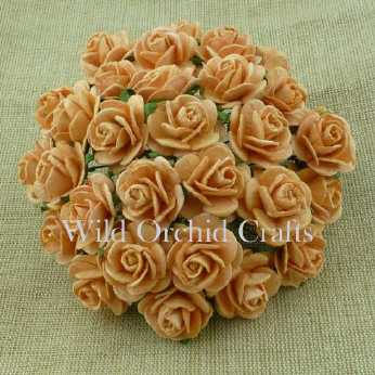 5 Stk. Rosen open roses burnt umber 20 mm