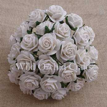 5 Stk. Rosen open roses white 25 mm