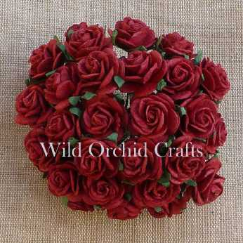 10 Stk. Rosen open roses deep red 10 mm