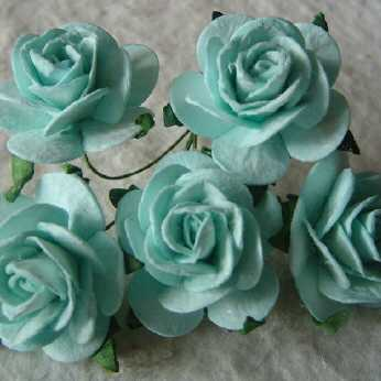 5 Stk. Rosen open roses pastel green 25 mm