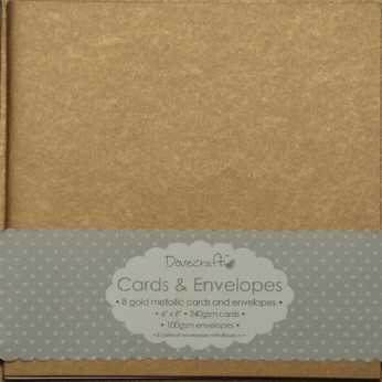 "Dovecraft Cards & Envelopes 6x6"" goldmetallic"