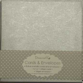 "Dovecraft Cards & Envelopes 6x6"" silvermetallic"