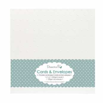Dovecraft Cards & Envelopes polka embossed 6x6""