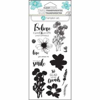Hampton Art Layering Clear Stamps Flower Believe
