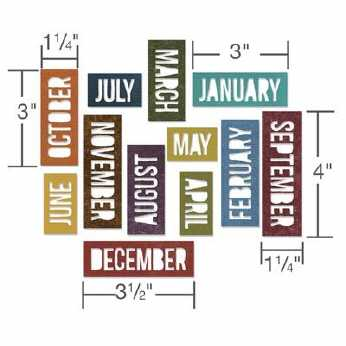 Tim Holtz Stanze Calendar Words BLOCK