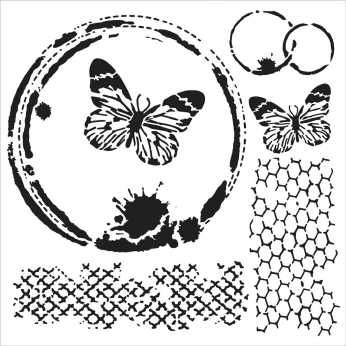 TCW Stencil Butterfly Collage
