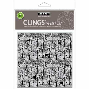 Hero Arts Cling Stamp Forest & Deer Bold