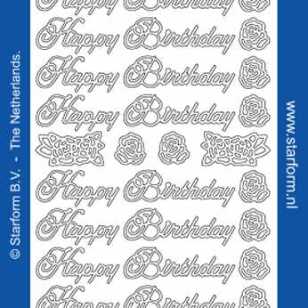 Starform, Textsticker Happy Birthday silber
