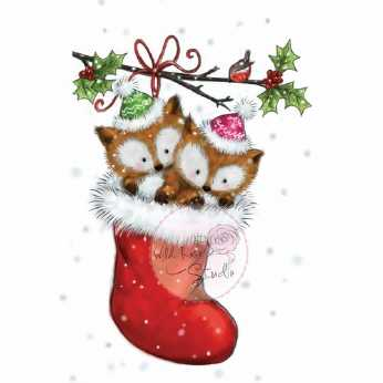 Wild Rose Studio Stempel Foxes in Stocking