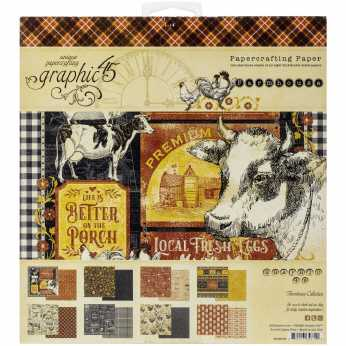 Graphic 45 Farmhouse Paper Pad 8x8""